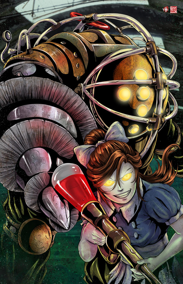 Bioshock Big Daddy and Little Sister 2015 by WiL-Woods