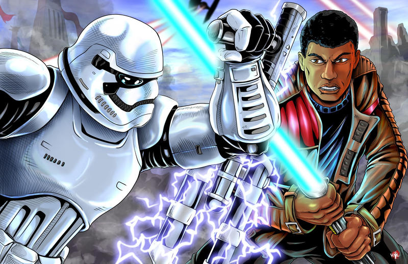 Star Wars Finn VS Riot Trooper by WiL-Woods