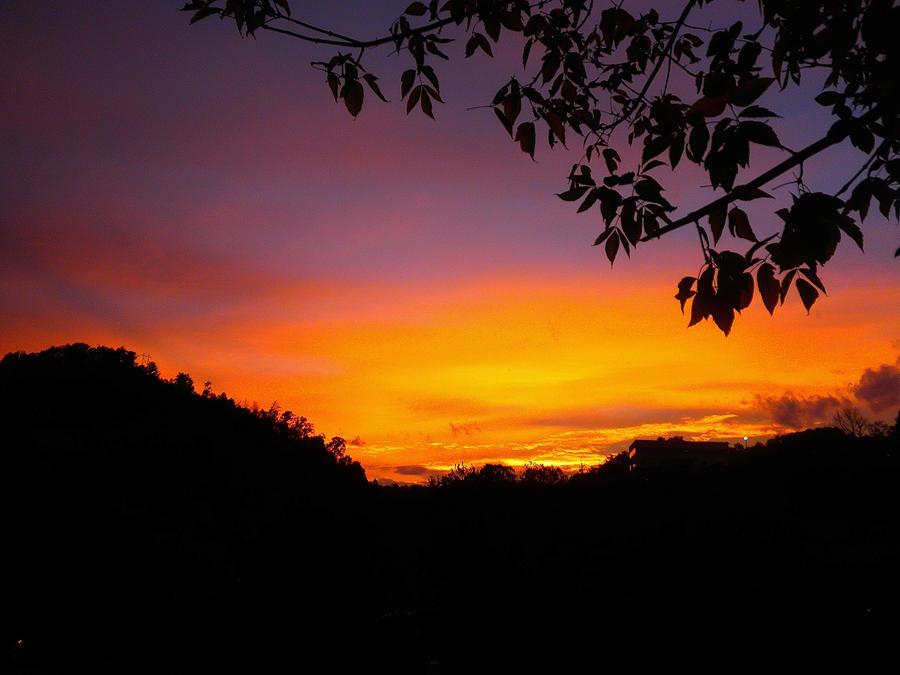 Orange and lavender Autumn sunset by jena4renna