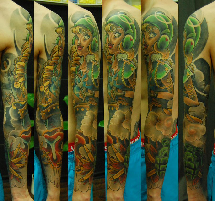 Tattoo army sleeve by stilbruch tattoo on deviantart for Military sleeve tattoo