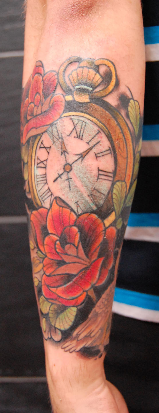 Tattoo clock and flowers by stilbruch-tattoo on DeviantArt