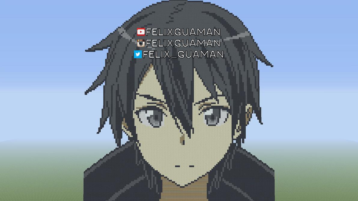 One Line Pixel Art : Kirito sword art online minecraft pixel by felixguaman