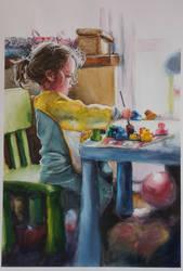 Amelia maluje (Amelia is painting).