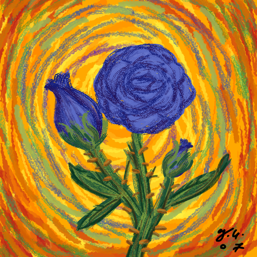 Blue roses expressionism by the clockwork crow on deviantart for Art and craft drawing and painting
