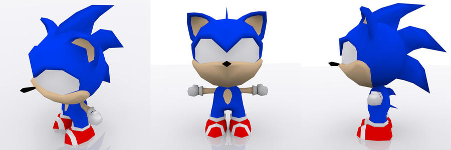 3D Chibi Sonic by andril