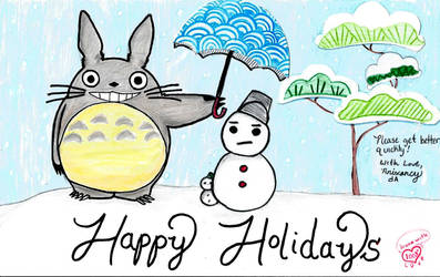 Holiday Card Project: Totoro's Winter by AniXancy