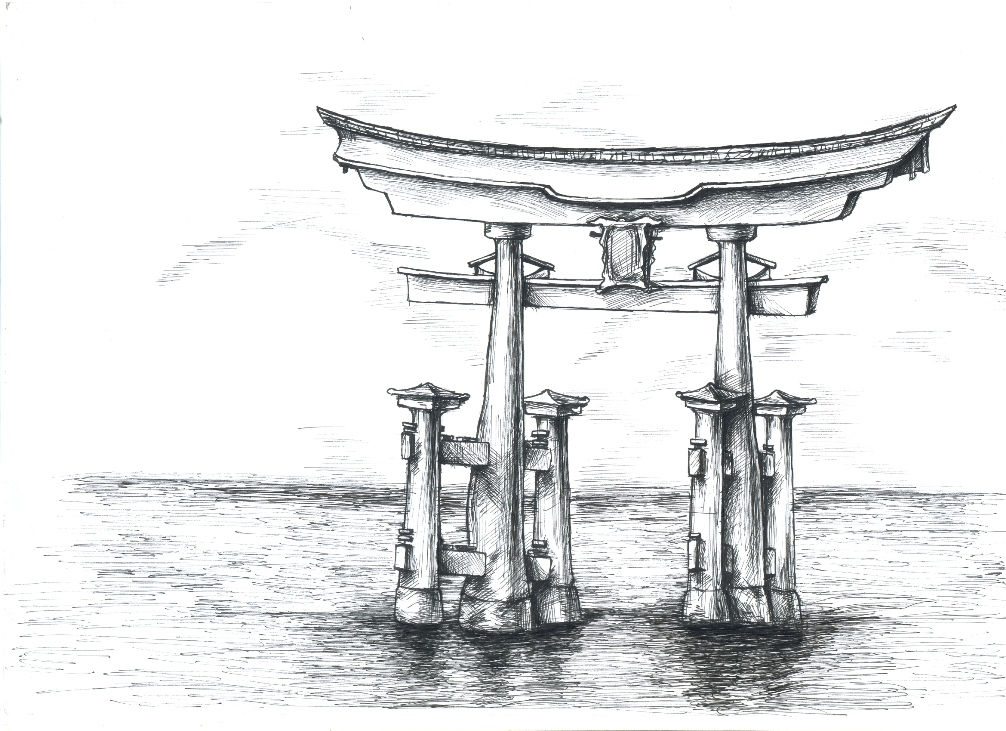 torii gate drawing - 1006×731