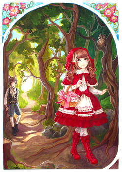 Frilly Red Riding Hood and Elegant Gothic Wolf