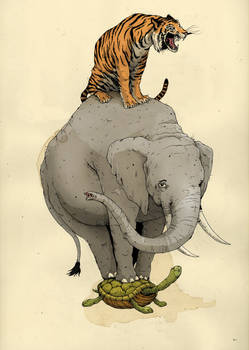 tiger, elephant, turtle