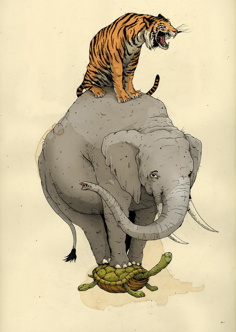tiger, elephant, turtle by macen