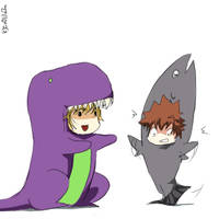 Dino-saur and Tsuna-fish by CoOlilaZn
