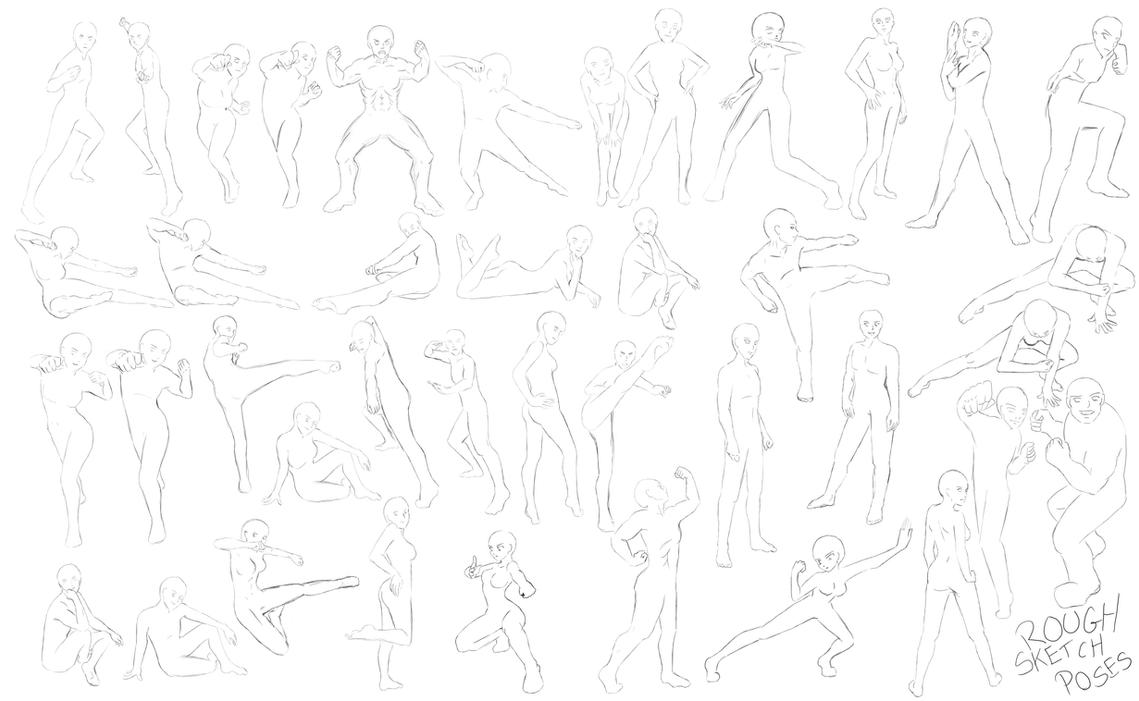 Rough Sketch pose reference by manic-goose