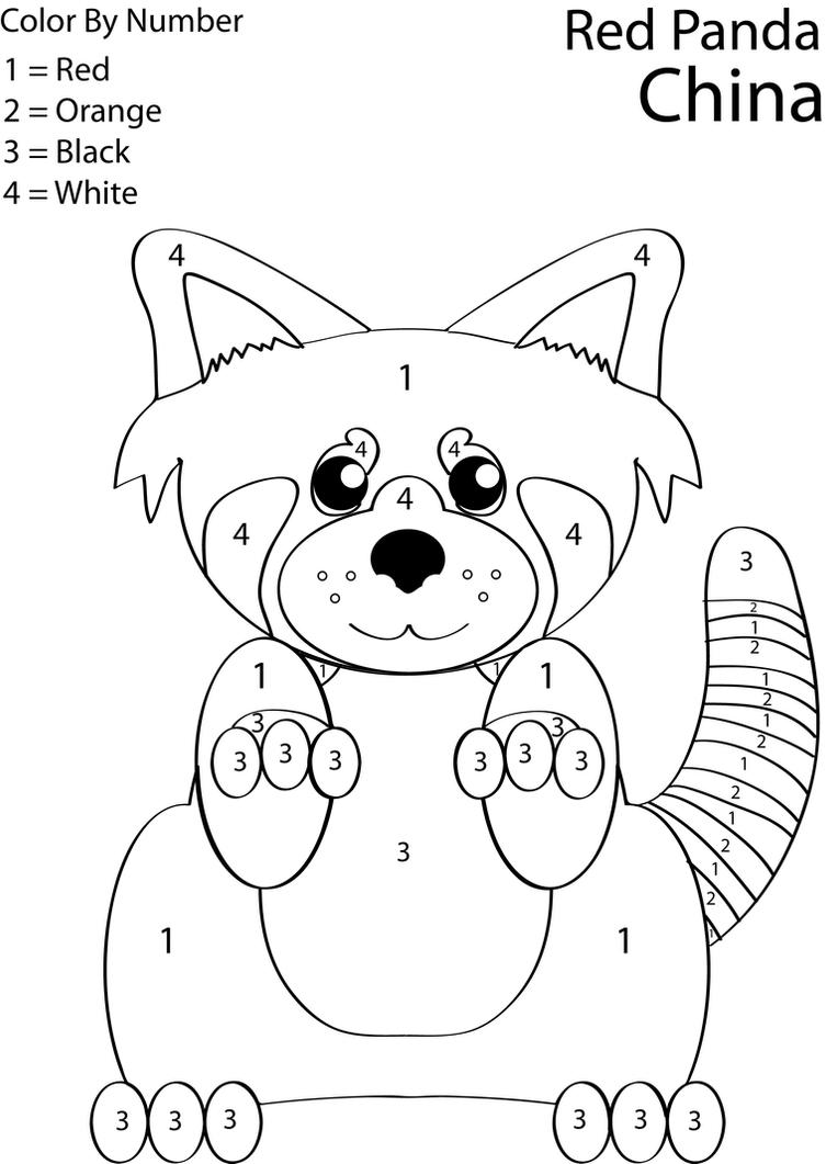 red panda coloring page - red panda color by number by lovett91 on deviantart