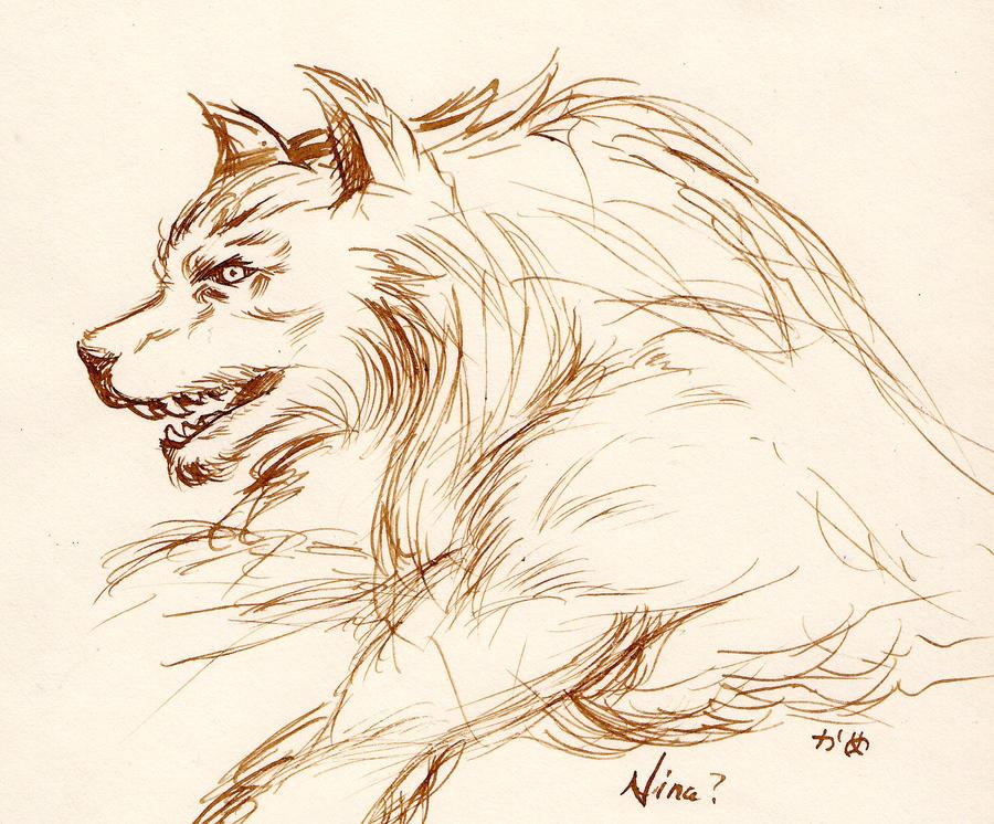 Werewolf nib pen drawing by noelle-chan