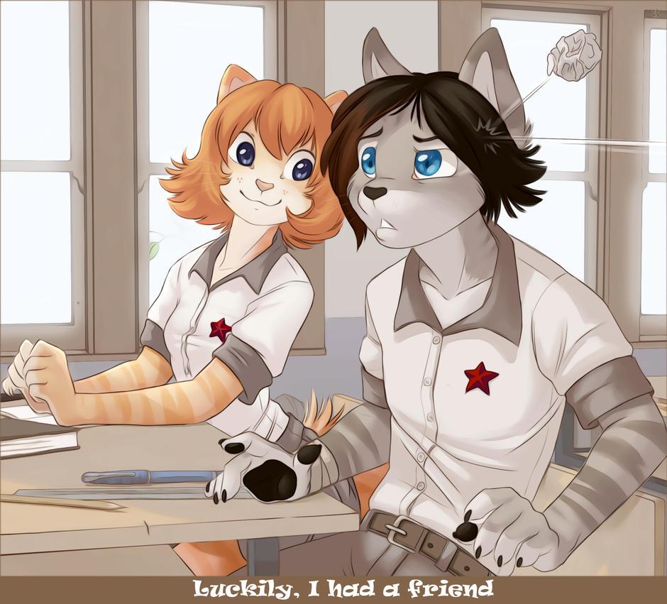 Konrad saves Iskra - 3 by Zengel on DeviantArt Tabby Cat Cartoon Drawing