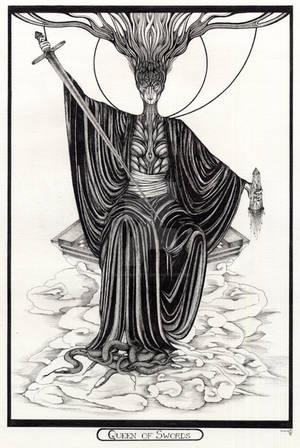Queen of Swords Tarot Original by InaAuderieth
