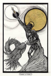 Knight of Wands/ Ritter der Staebe Tarot Original by InaAuderieth