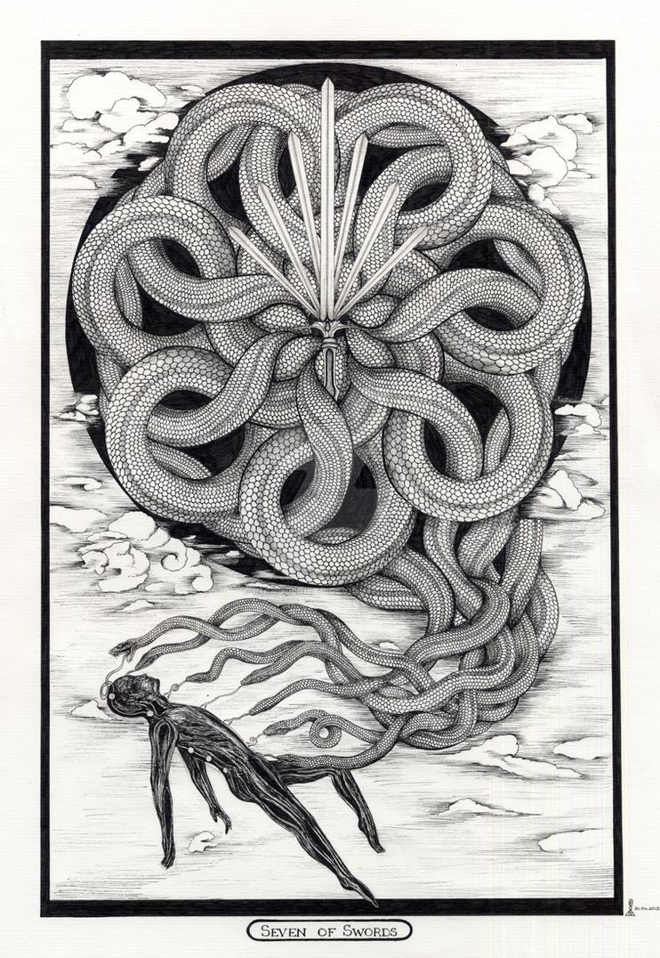 Seven of Swords / Sieben der Schwerter - Tarot by InaAuderieth