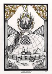 Knight of Disks / Ritter der Scheiben Origin Tarot by InaAuderieth