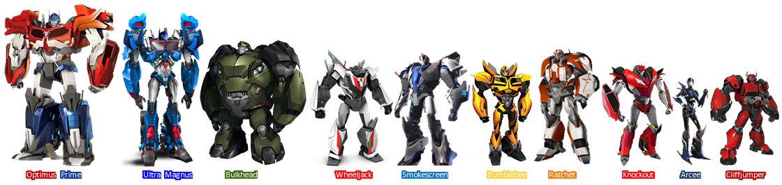 Transformers Prime Autobots Size Chart
