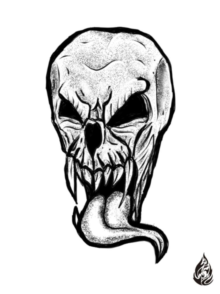 Skull Tonge by FirewolfDigitalArt