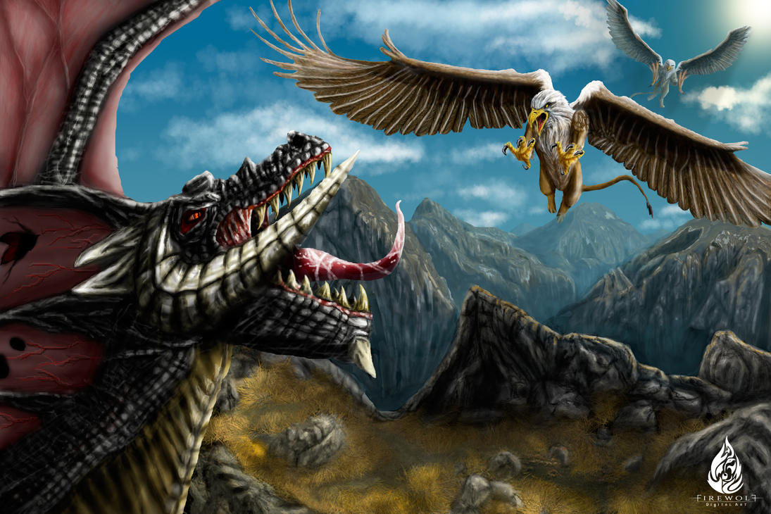 Black Dragon vs Griffons by FirewolfDigitalArt