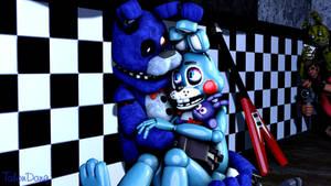 Cuddling-Bonnie and Toy Bonnie
