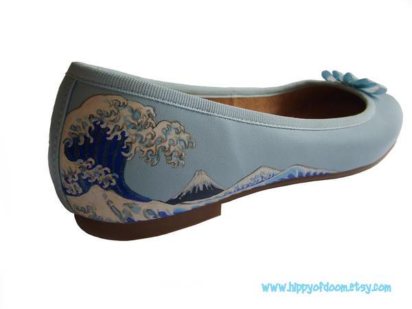 Hokusai Wave Ballet Pumps by UKEtsy
