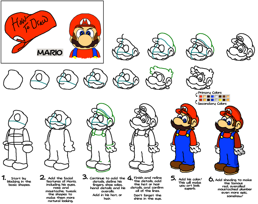 How To Draw Mario Characters Step By Step For Kids How to Draw: Mario by ...