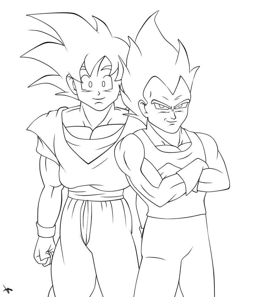 Lineart goku and vegeta by missminority on deviantart for Goku and vegeta coloring pages
