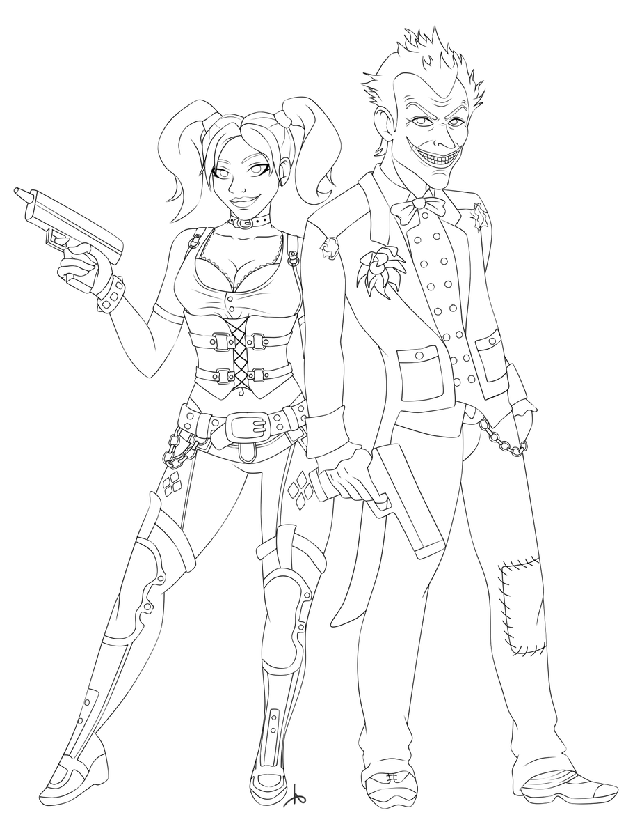 The joker and harley quinn lineart by missminority on for Harley quinn coloring pages