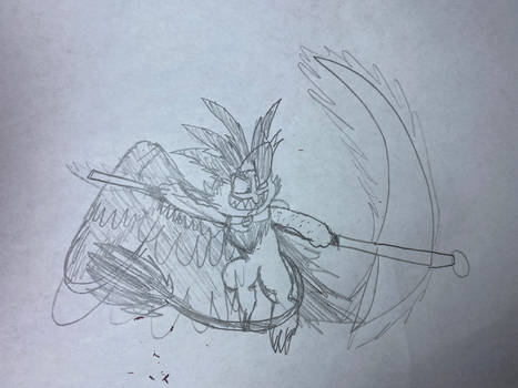 Senka with a scythe