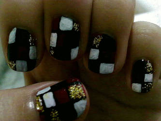 Checkerboard Nails by 3leanorMarshall