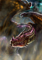 Dragon guarding castle by Gabe McIntosh