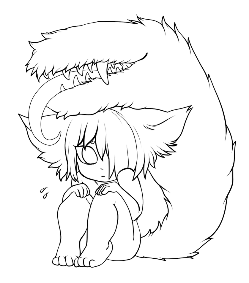 free use lineart scared little