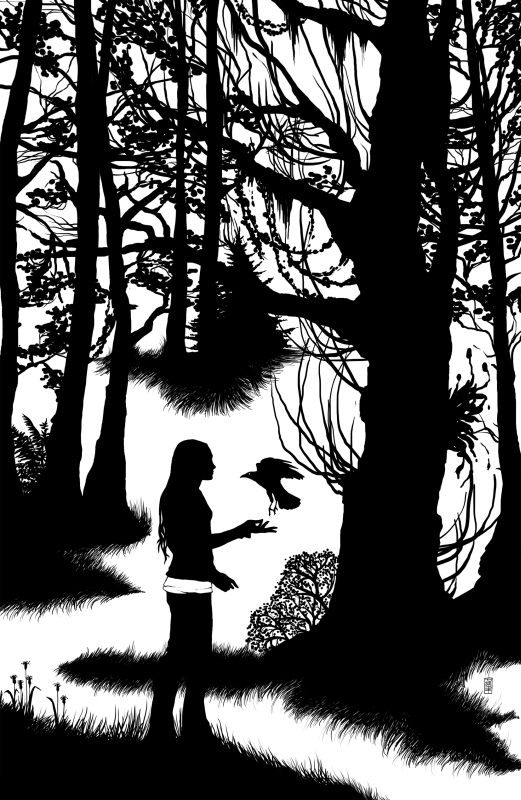 Leaden Forest - Emese and the Raven by moon-pookah