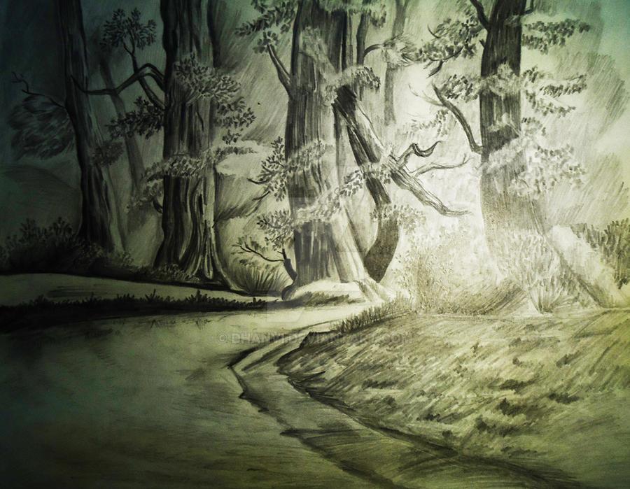 Pencil sketch dark forest by dhanvi