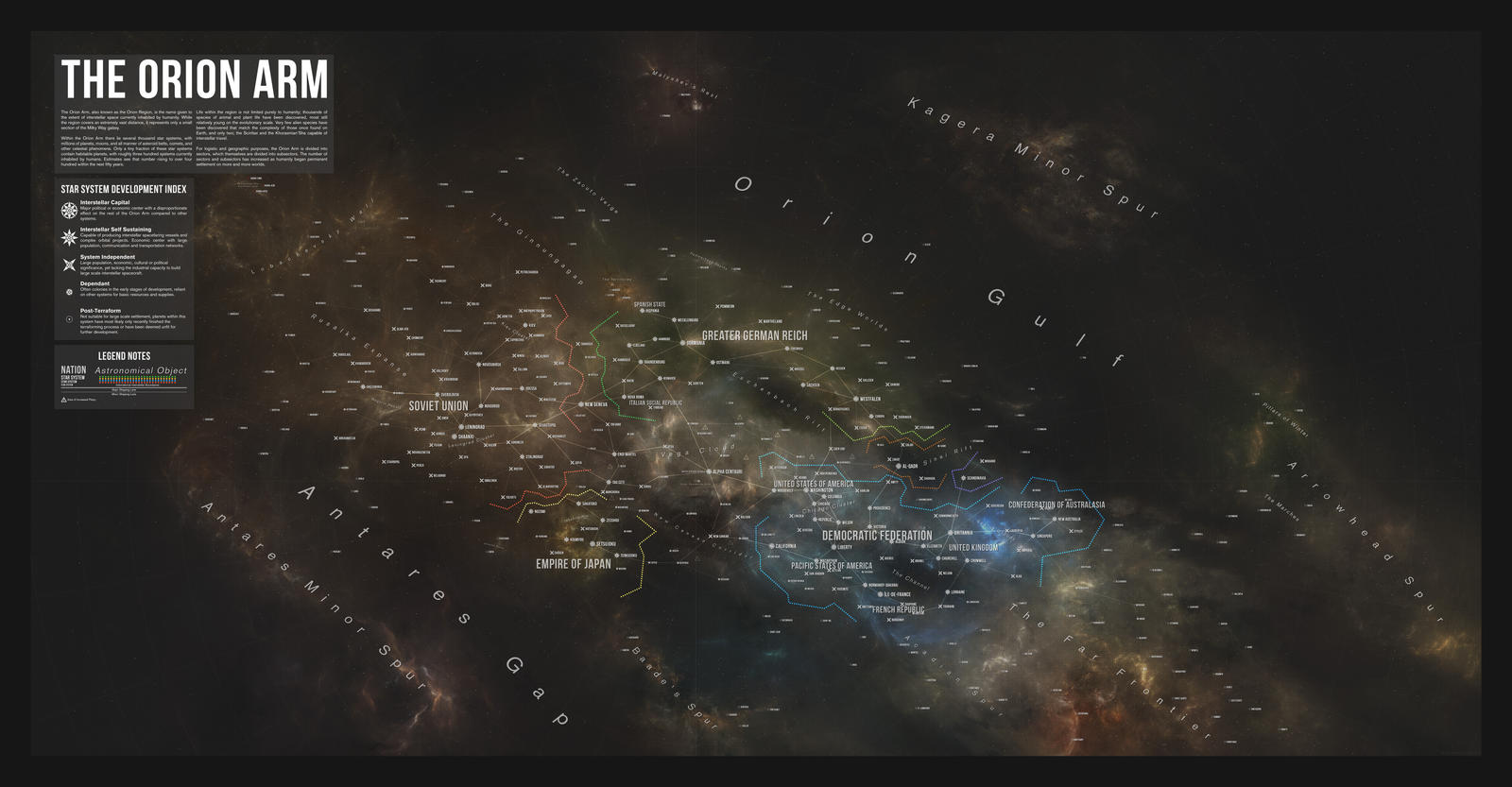 Map of the Orion Arm in 2289 (2017 Edition) by DawnofVictory2289