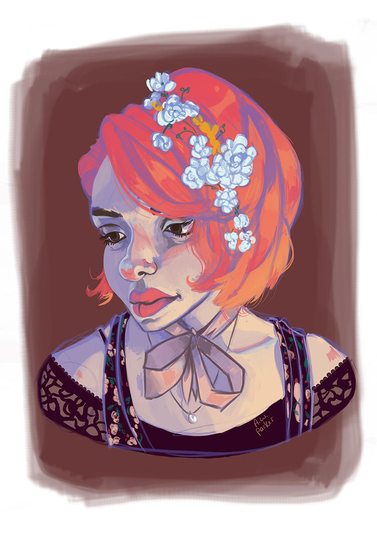 Daily Drawing: orange hair with white flowers by PlutoLaRu
