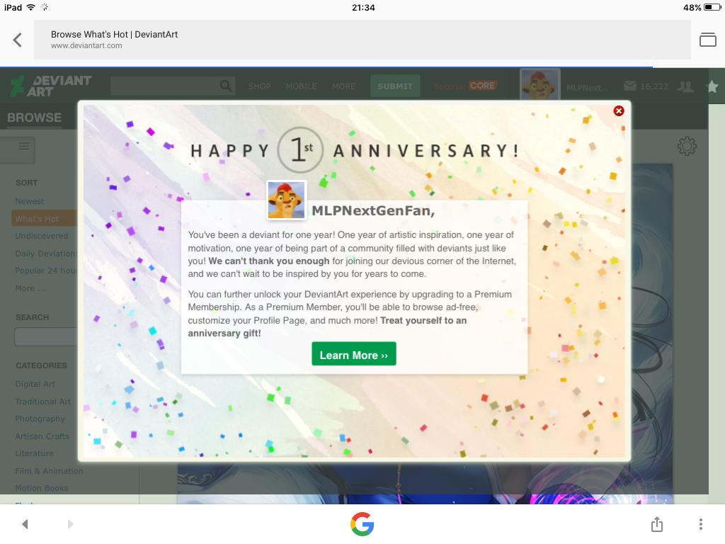 I'm a year on DeviantArt yay! by MLPNextGenFan