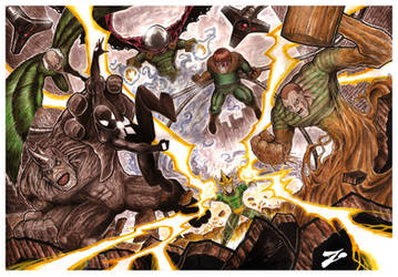 Spidey vs Sinister Six by Zuleta