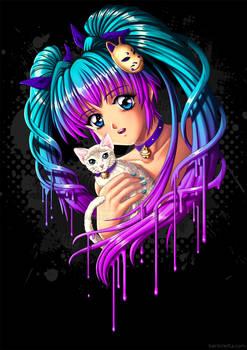 Anime Girl with Kitty
