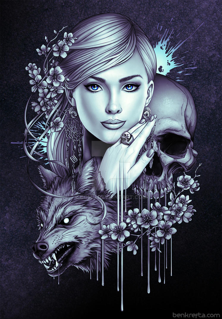 Wolf Skull and Girl by Bomu