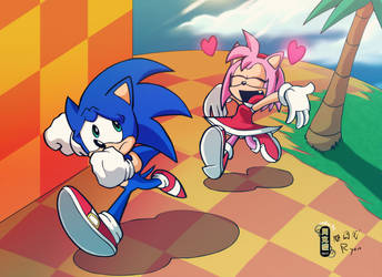Amy Hearts Sonic Colored by Pembroke