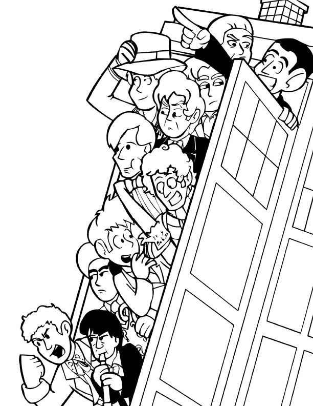 Doctor who print lineart by pembroke on deviantart for D is for doctor coloring page