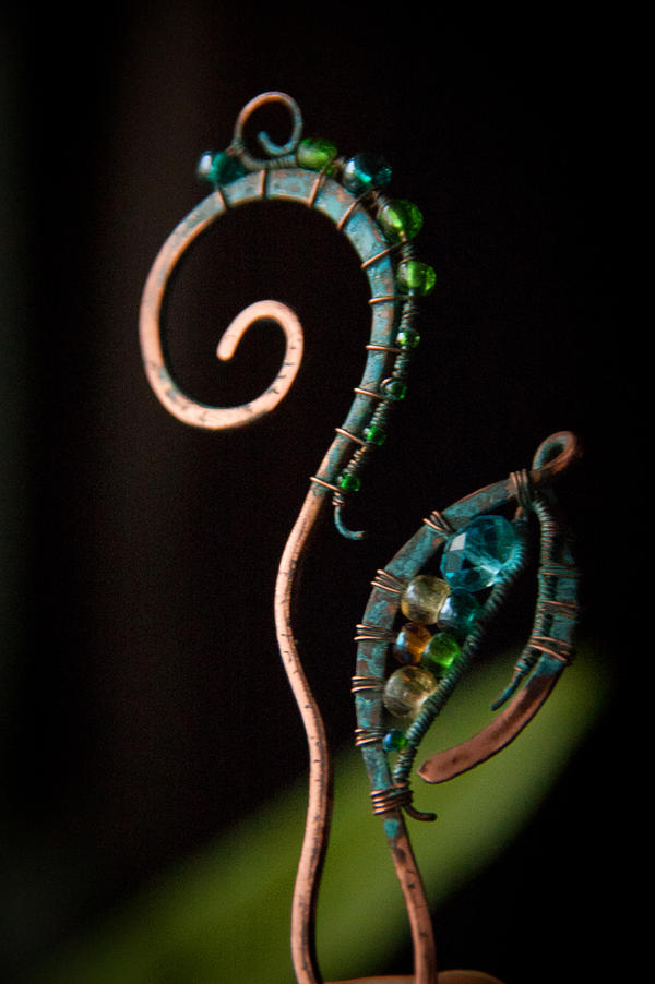 Two hairpins, my experiments with blue patina. by eiphen