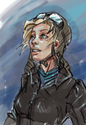 Female pilot rough sketch by eiphen