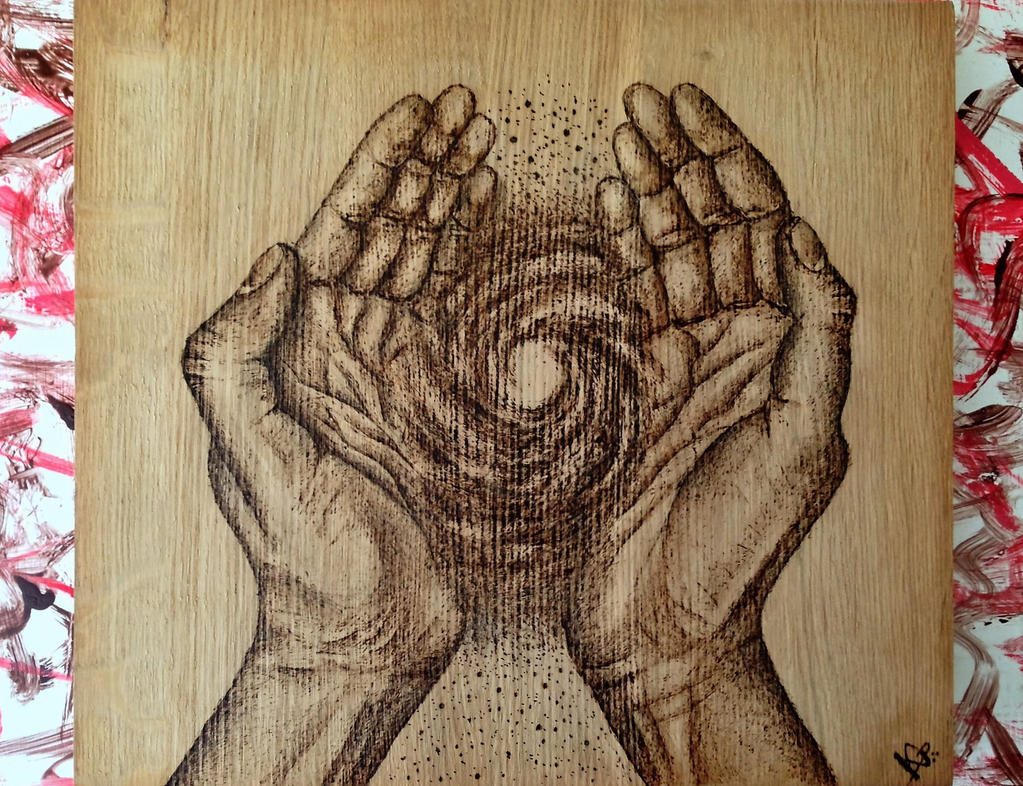 Everybody has a piece of the Universe 11 x 10 in by KamilPyrography