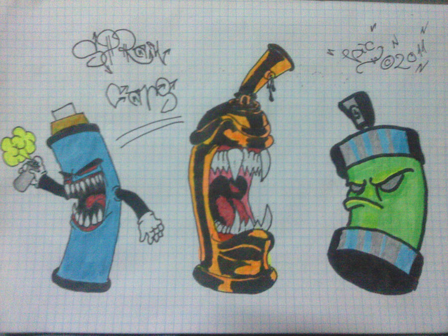 Graffiti spray cans characters by 0PurePoison0 on DeviantArt