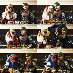 Imposter Batman and Asylum Harley in Joker Fish by TrueError